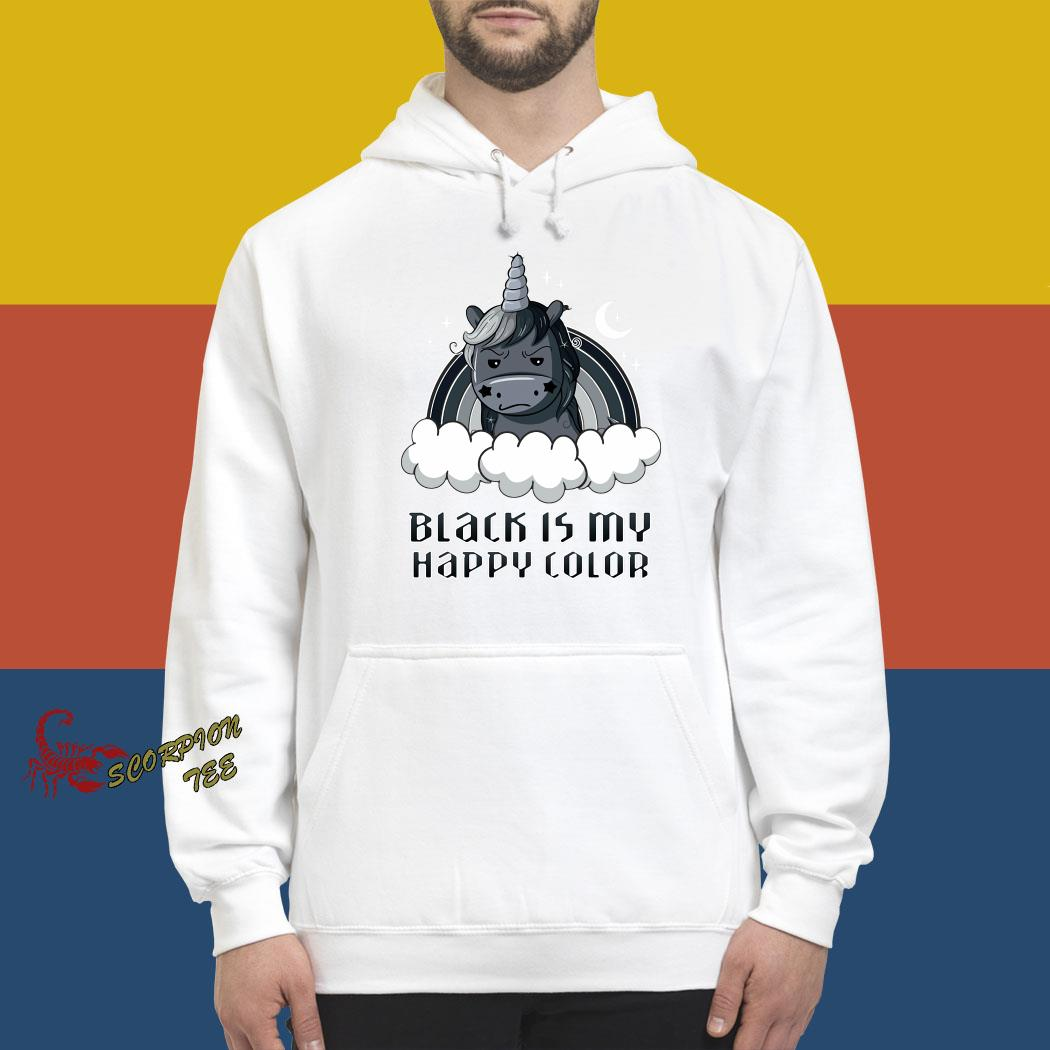 Unicorn Black Is My Happy Color Shirt hoodie