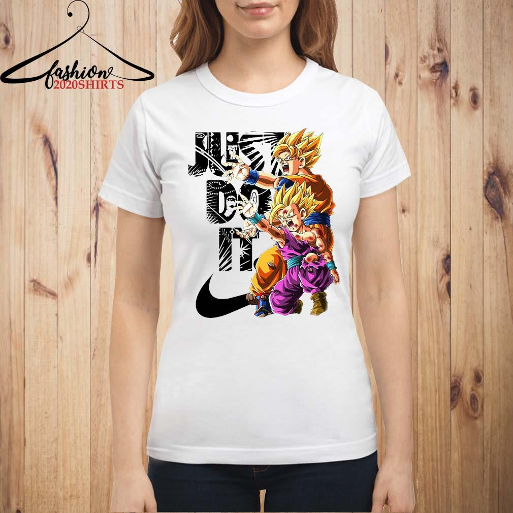 Goku And Gohan Kamehameha Nike Just Do It Shirt ladies shirt