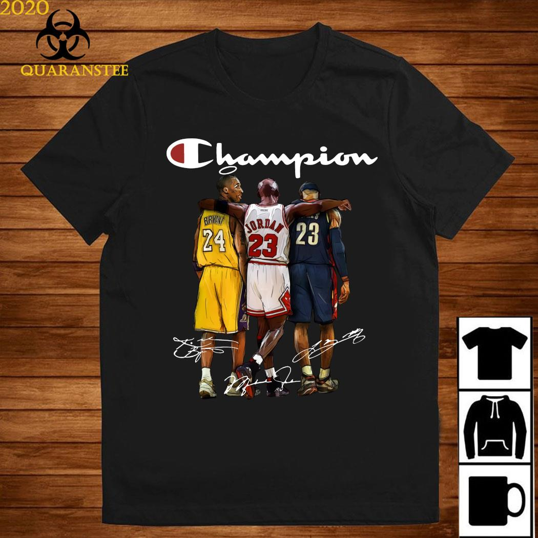 Rip Kobe Bryant Jordan And Lebron Champion Signatures Shirt