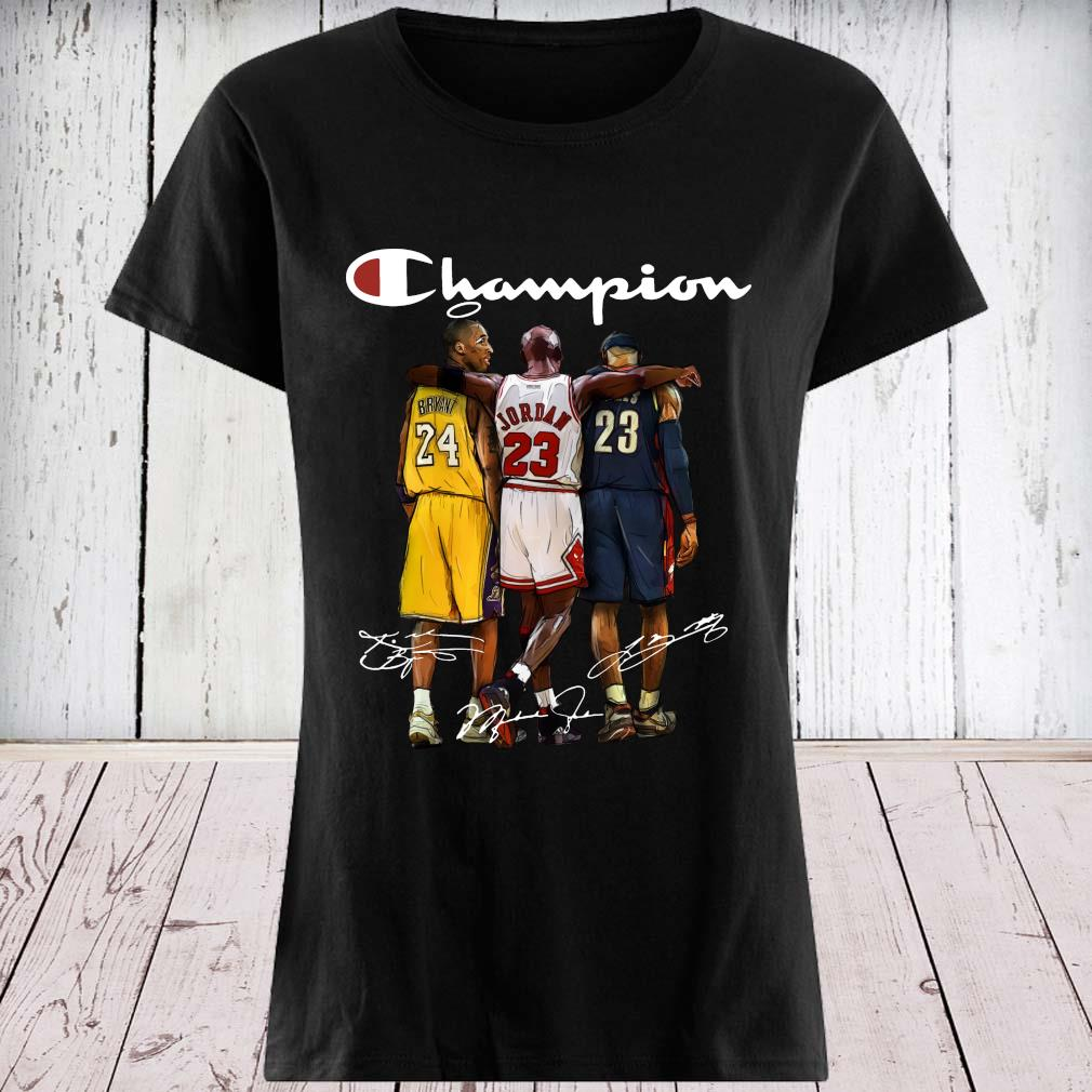 Rip Kobe Bryant Jordan And Lebron Champion Signatures Shirt ladies tee