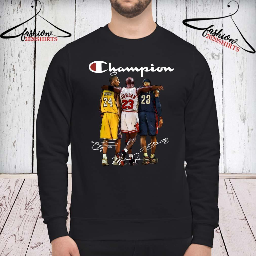 Rip Kobe Bryant Jordan And Lebron Champion Signatures Shirt sweatshirt