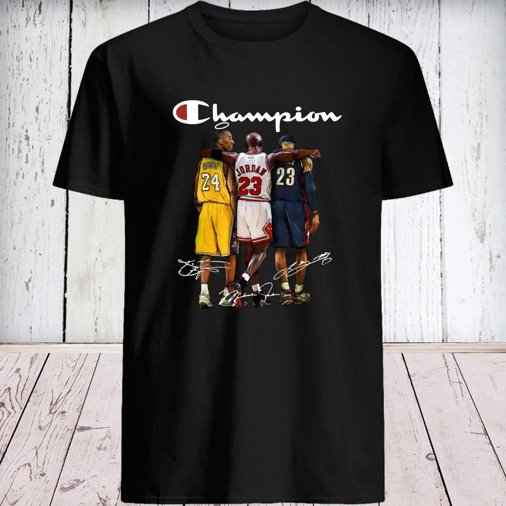 Rip Kobe Bryant Jordan And Lebron Champion Signatures Shirt unisex