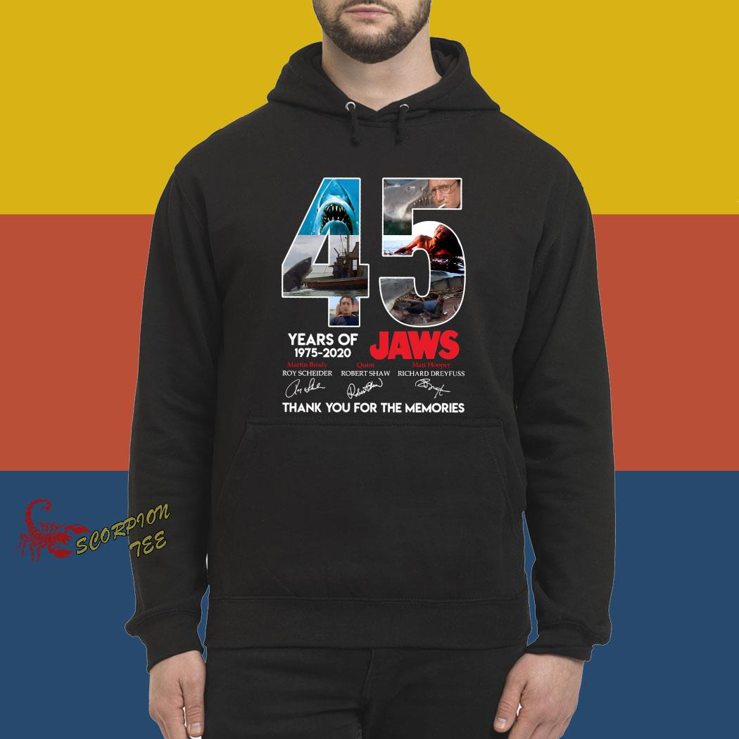 45 Years Of 1975 2020 Jaws Thank You For The Memories Signatures Shirt hoodie