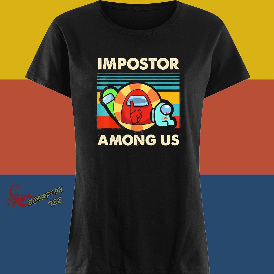 Impostor Among Us Funny Vintage Game Sus Shirt ladies tee