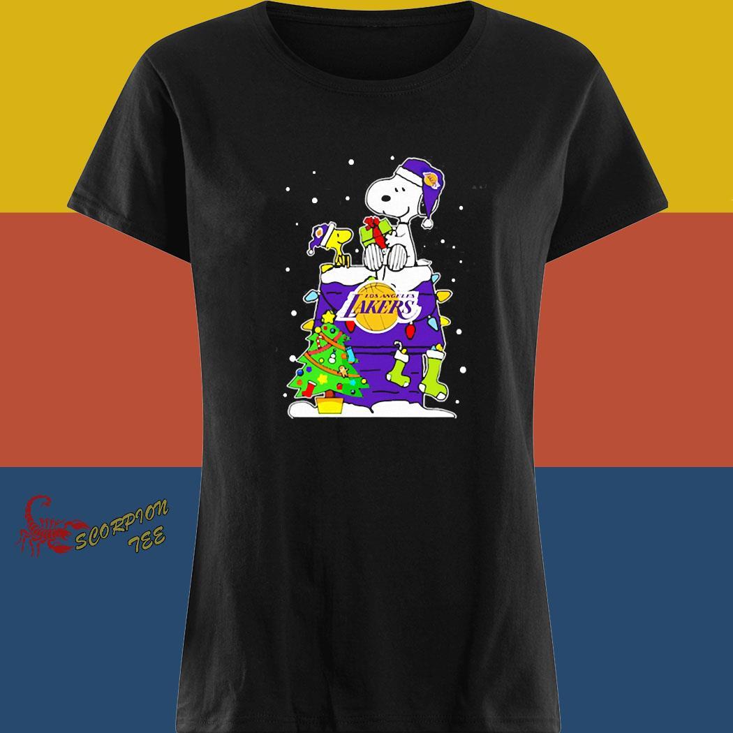 Snoopy Lakers Christmas Shirt ladies tee