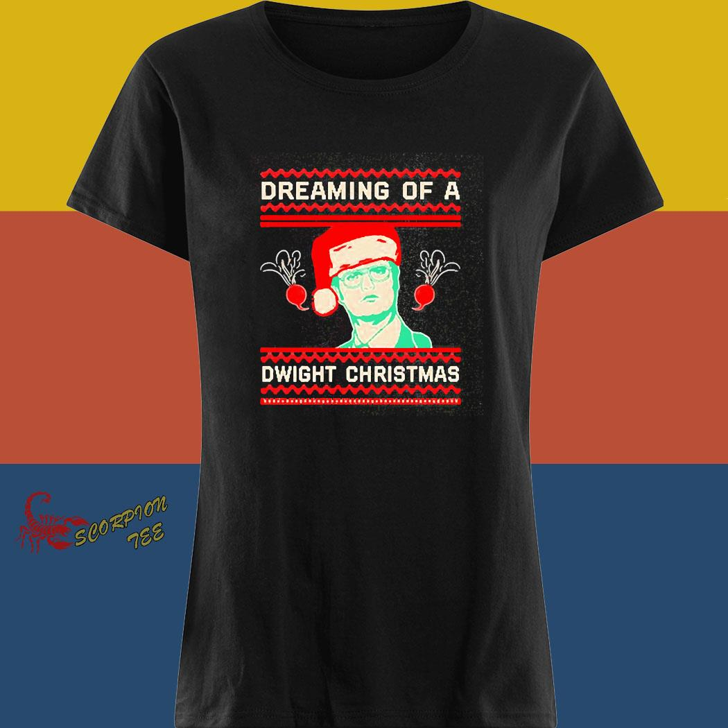 The Office Tv Series Dreaming Of A Dwight Ugly Christmas Shirt ladies tee