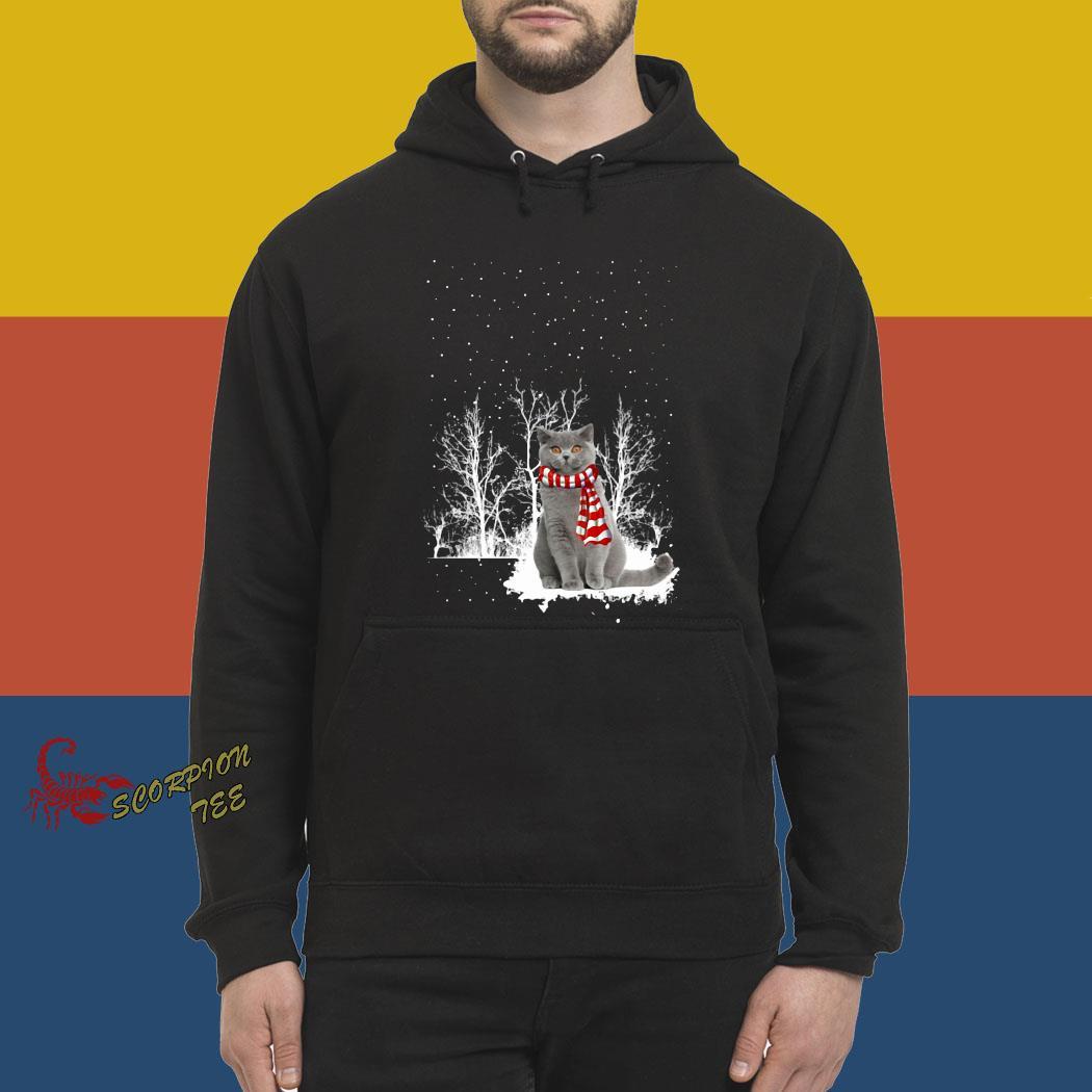 British Shorthair Snow Scarf Christmas Shirt hoodie