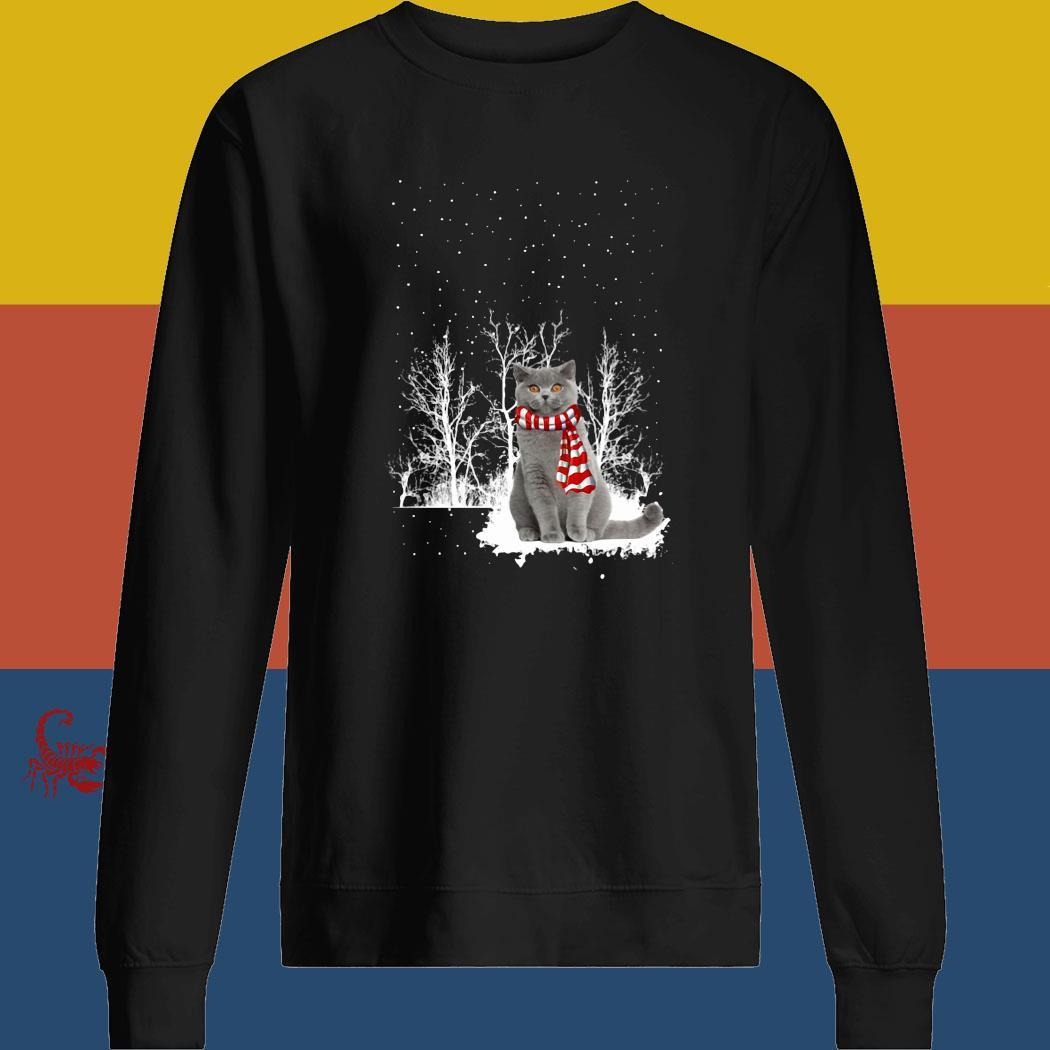 British Shorthair Snow Scarf Christmas Shirt sweatshirt