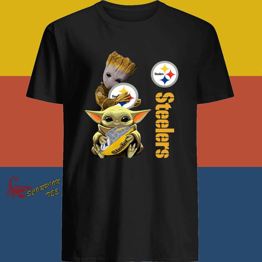 Baby Groot And Yoda Hug Pittsburgh Steelers Shirt