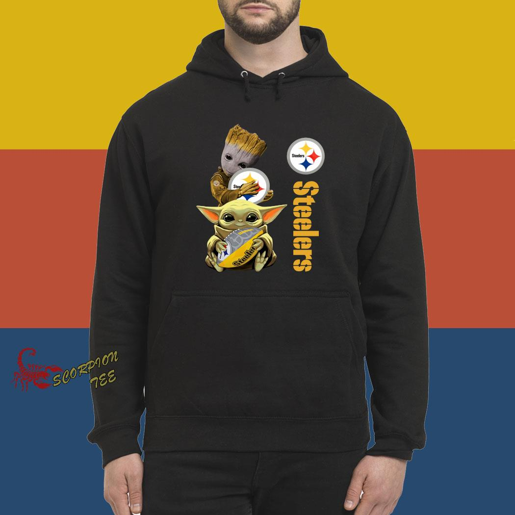 Baby Groot And Yoda Hug Pittsburgh Steelers Shirt hoodie