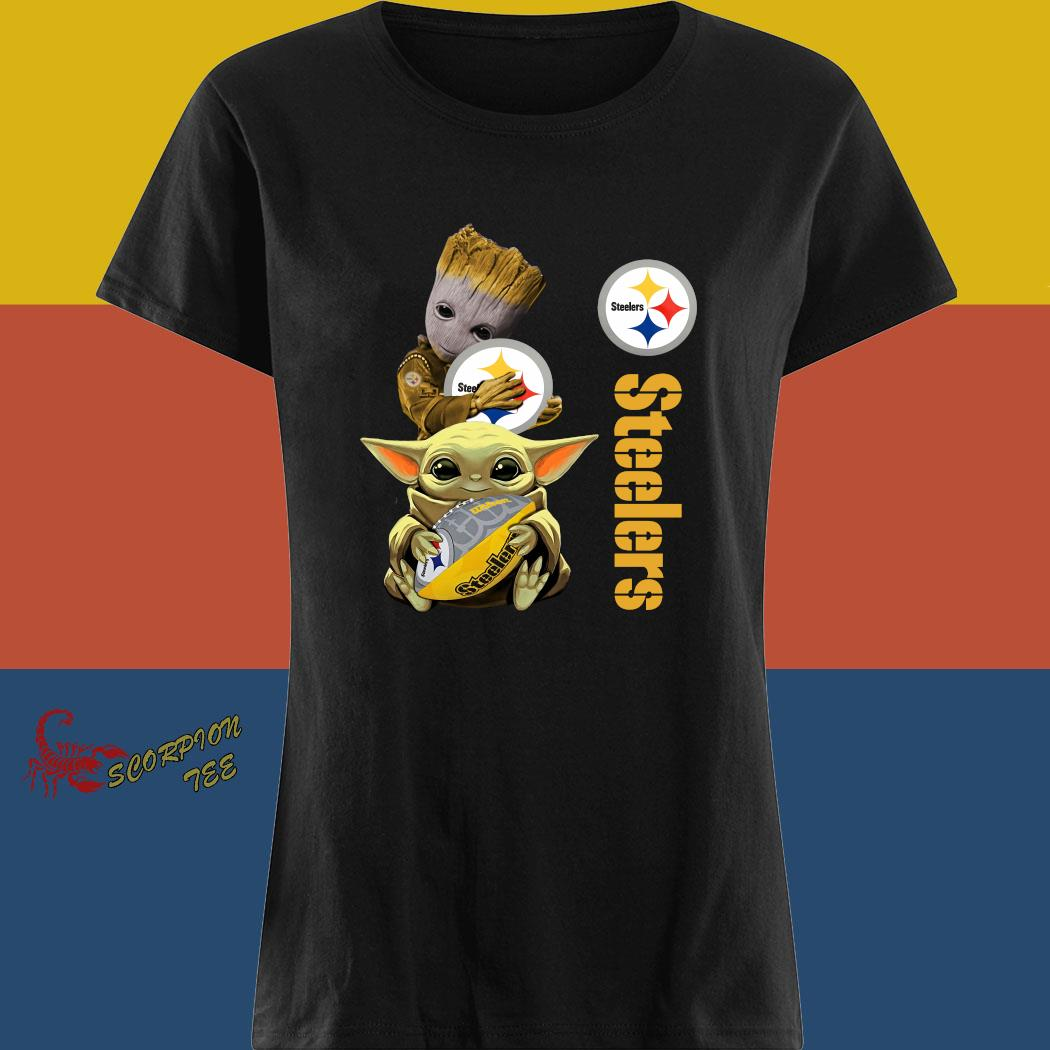 Baby Groot And Yoda Hug Pittsburgh Steelers Shirt ladies tee