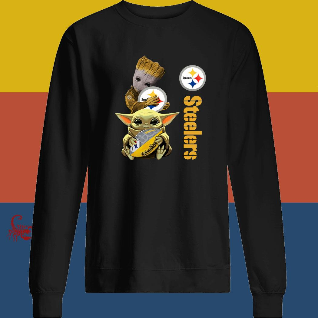 Baby Groot And Yoda Hug Pittsburgh Steelers Shirt sweatshirt